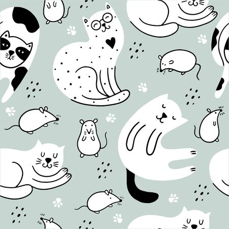 Doodle cats and cute mouses seamless pattern. Scandinavian children`s background with kitties and rats. Can be used for packaging, wallpaper, textiles. Vettoriali