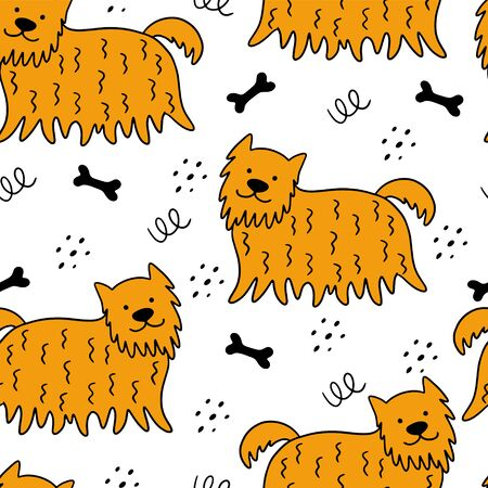 Seamless pattern with hand-drawn dogs on a white background. Scandinavian vector illustration. Can be used for wallpaper, textile, packaging.