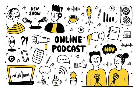 Podcast show doodle set. Men and women making podcast. Hand drawn vector illustration with different podcast elements