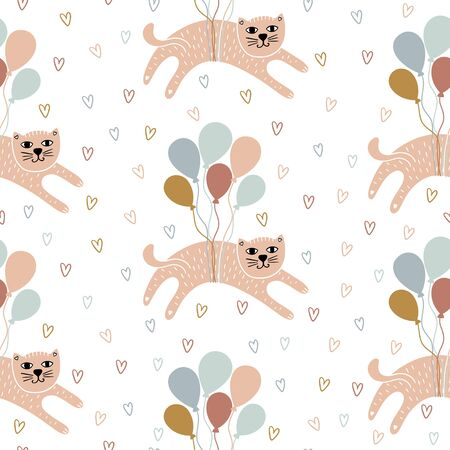 Childish seamless pattern with hand-drawn cats. Scandinavian background with cats, balloons and hearts. Can be used for wallpaper, textile, packaging.