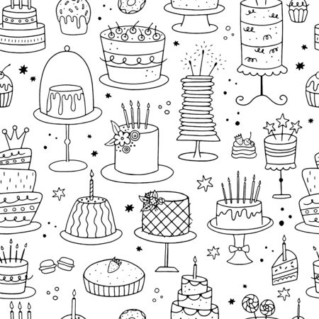 International Cake Day. Seamless pattern of doodle cakes on a white background. It can be used for wallpaper, wrapping, textile and coloring pages.  Vettoriali