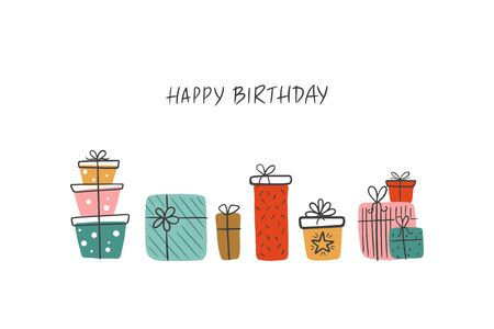Birthday greeting card with gifts and lettering Happy Birthday. Scandinavian vector illustration with Bday gifts.