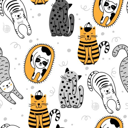 Cute cats Scandinavian seamless pattern. Childish background with cats. Can be used for wallpaper, packaging, textiles. Vettoriali
