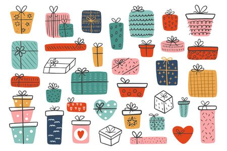 Big set of hand-drawn different gift boxes isolated on a white background. Colorful gifts for Valentine's Day, Christmas Day, New Year, Birthday. Vettoriali