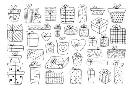 Big set of hand-drawn different gift boxes isolated on a white background. Doodle gifts in Scandinavian style for Valentine's Day, Christmas Day, New Year, Birthday.