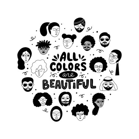 All colors are beautiful lettering. Multicultural group of people and a phrase in a round frame. Vettoriali