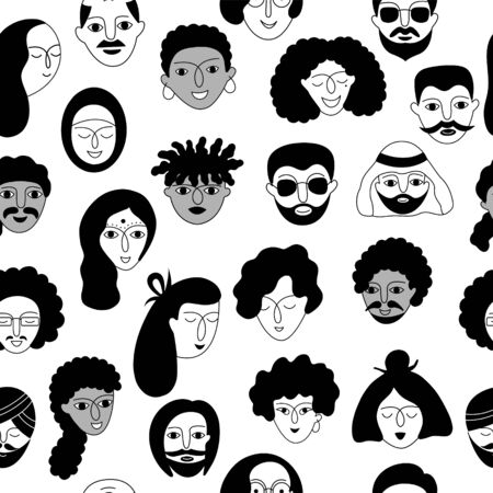 A multicultural people seamless pattern. Hand-drawn vector illustration with woman and man faces on a white background.
