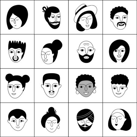 A multicultural people   pattern. Hand-drawn vector illustration with woman and man faces on a white background.