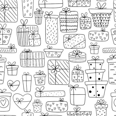 Seamless pattern of hand-drawn different gift boxes isolated on a white background. Doodle gifts in Scandinavian style for Valentine's Day, Christmas Day, New Year, Birthday.