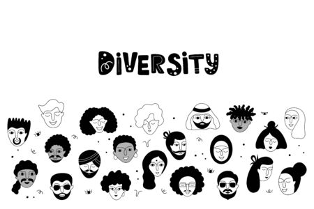Social diversity. Vector illustration with various people faces presenting person team diversity in the company.