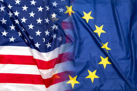 Gradient of Fabric USA American and EU European Union flags, concept
