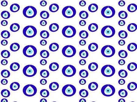 Seamless Nazar pattern, Nazar Turkish amulet isolated on white, illustration 免版税图像