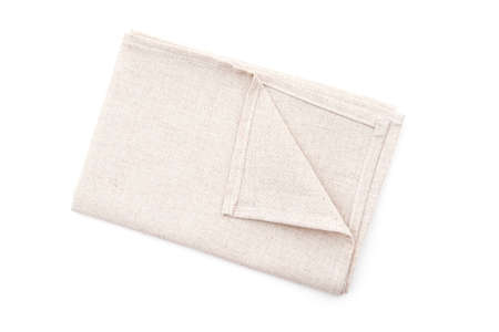 Square kitchen towel, linen napkin isolated on white, top view