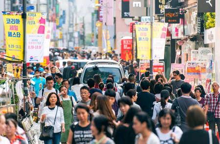 SEOUL - SEPT 24: People at Myeongdong street in Seoul on September 24.2016 in South Korea