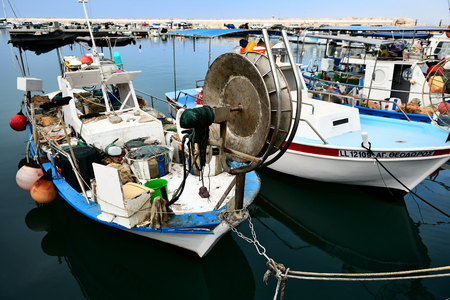 fishing boats in the Limassol fishing port in Cyprus 에디토리얼