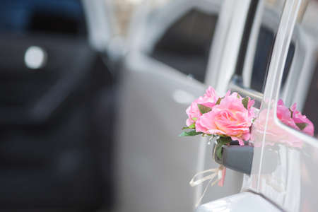Luxury wedding car decorated with flowers. Copy space. photo