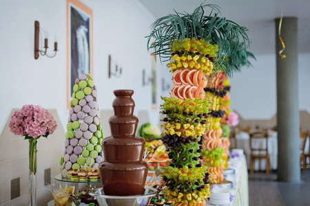 Chocolate fountain and palm-tree from fruits at wedding reception.