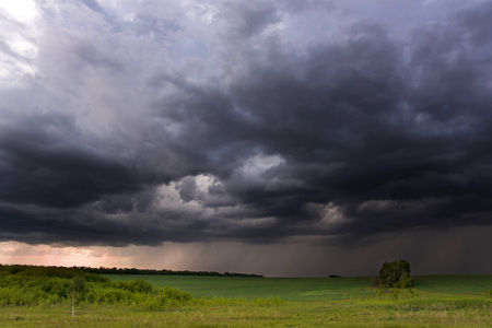 rural areas: Thunder-storm over fields in rural areas, summer