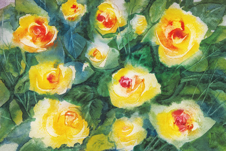 innuendo: bouquet of gentle yellow roses against the background of bright green leaves in a water color Stock Photo