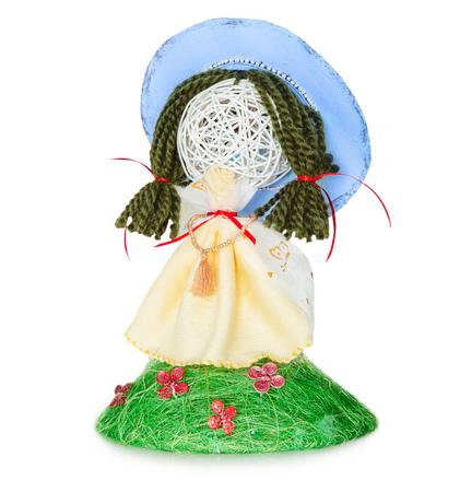 spring doll handmade on white background