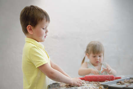 children prepare chocolate cookies in the ida of the traditional Easter rabbit
