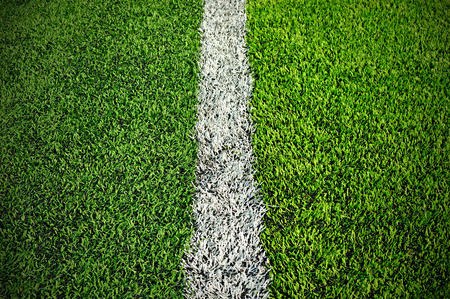 grass area:  green synthetic grass sports field with white line