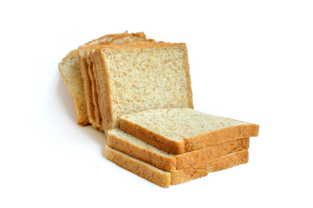 slices of whole wheat bread isolated on white background