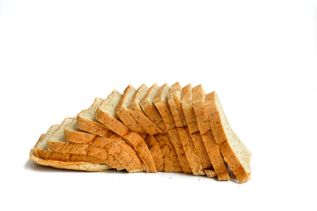 Sliced wheat bread. Isolated on white background
