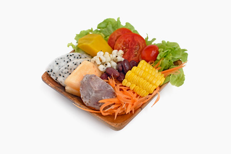 Nutrition Healthy salad food in wood plate