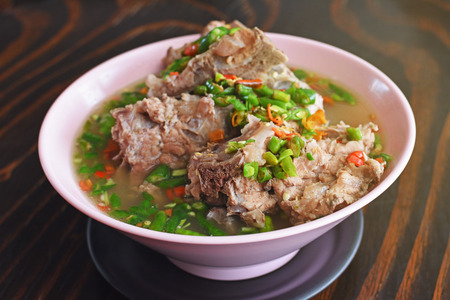 Delicious Thai spicy soup with Pork Ribs, this is popular food in Thailand and thai called Stock Photo