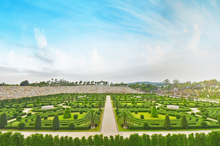 PATTAYA,THAILAND - NOVEMBER 27,2017 : Beautiful garden decoration in Nong Nooch Tropical Botanical Garden. Nong Nooch Tropical Botanical Garden is a 500-acre botanical garden in Chonburi, Thailand. Editorial