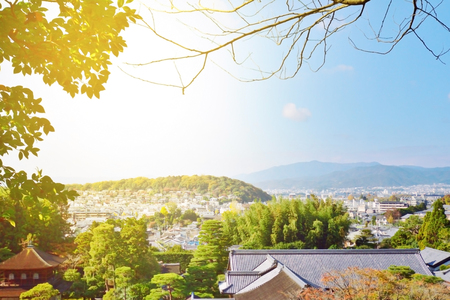View of Kyoto city it is the highest point  views of the city and the Mountains.