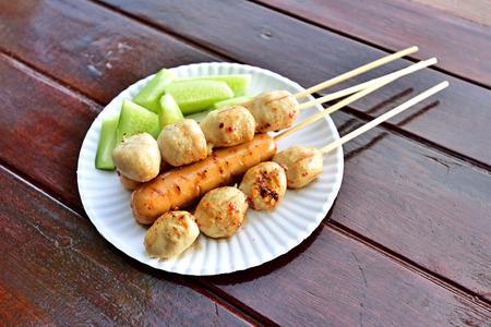 Thai meatballs street food on wooden table