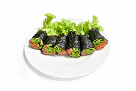 Seaweed and Hydroponic Salad Roll with salmon.
