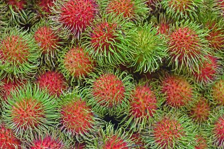 Group of rambutan from farms in the thailand market. Stock Photo