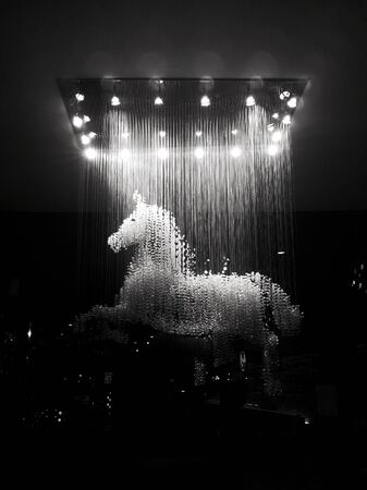 Horse crystal strass lamp white over black background luxury interior design