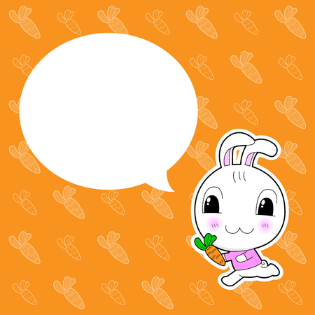 cute rabbit: Conejo lindo con la burbuja en el fondo naranja
