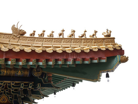 Chinese style eaves, a part of roof, isolated on white background photo
