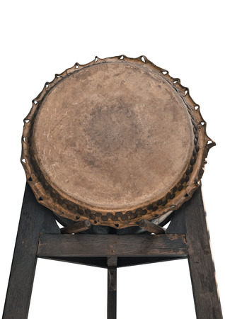 chinese drum: Single ancient chinese drum, isolated on white background. Stock Photo
