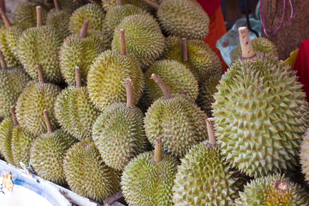 Durian fruits from a street vendor in the market.