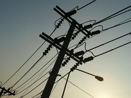 High electric pole and lines