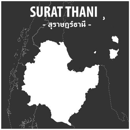 Surat Thani map Province of Thailand Illustration