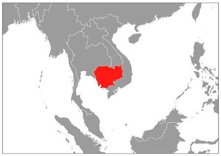 Cambodia map in gray base