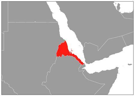 Eritrea map on gray base