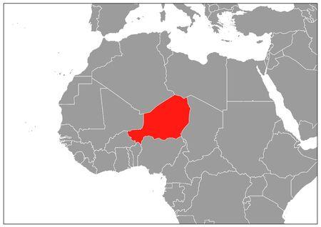 Niger map on gray base Illustration