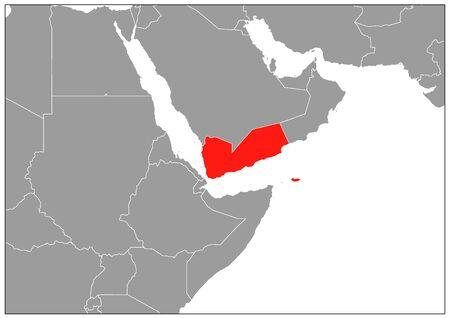 Yemen map on gray base