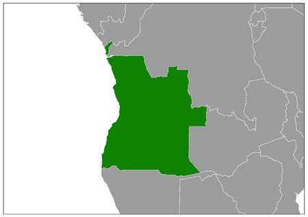 Angola map on gray base green view