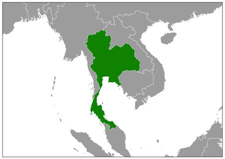 Thailand map on gray base green view