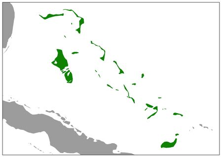 Bahamas map on gray base green view