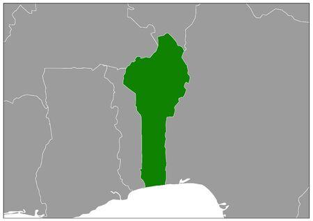 Benin map on gray base green view